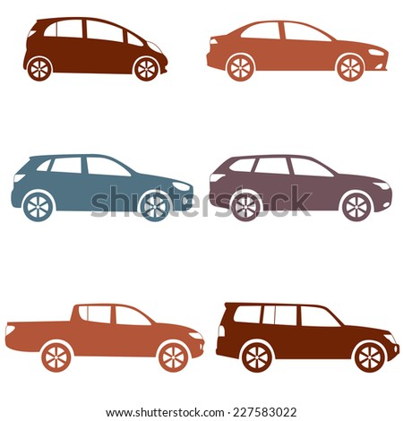Car icons set. Different vector car forms: suv, pickup, truck, sedan. Vehicle silhouettes collection isolated on white background.