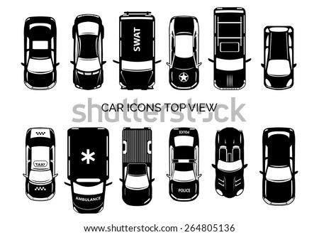 Car icons top view. Auto and transportation, collection automobile, ambulance and police, taxi and swat. Vector illustration - stock vector