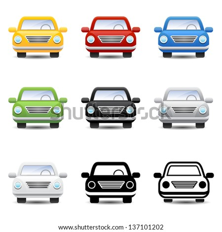 Car icons vector - stock vector