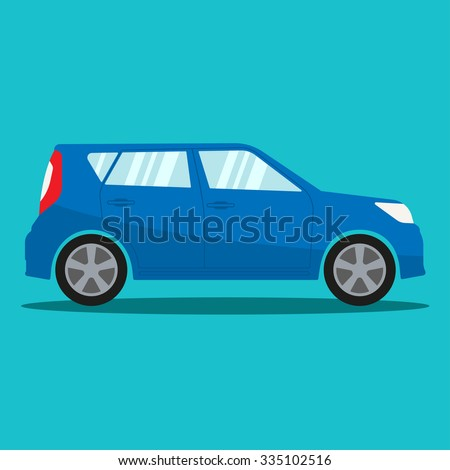 Car in flat style. Vehicle icon. Vector illustration.