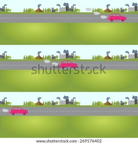 car in nature, vector - stock vector