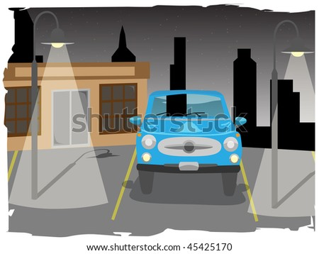 Car in parking lost next to building and lamps - stock vector