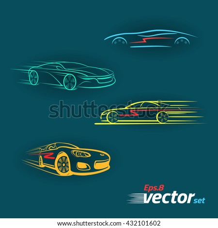 Car in the form of lines of silhouette, in movement. Multicolored  Set.eps 8 - stock vector