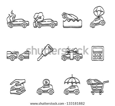 Car insurance icons in sketch - stock vector