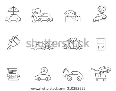Car insurance icons in thin outlines. Accidents, new car, claims - stock vector