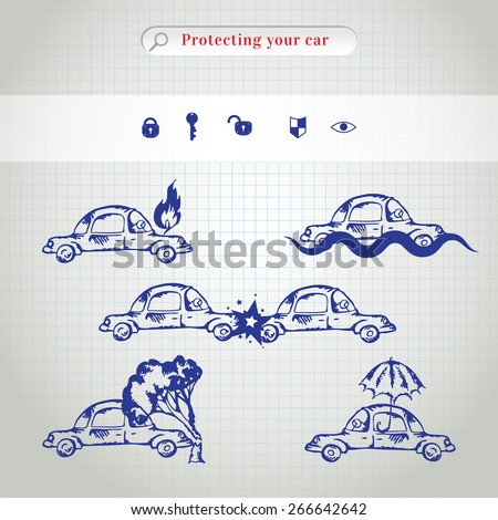 Car insurance icons set. Protection car illustration in doodle style. All object on a separate layers. Cartoon cars. Different situations of car crash - stock vector