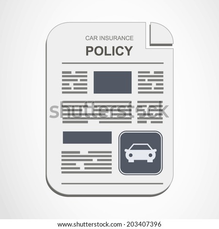 Car insurance policy concept illustration on blue and grey style art - stock vector