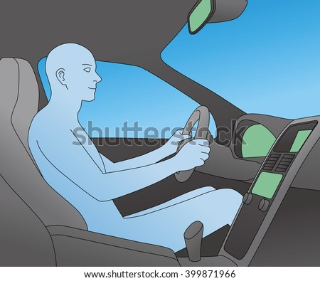 car interior and driver, vector illustration - stock vector