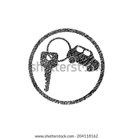 Car key vector simplistic icon with hand drawn lines texture. - stock vector