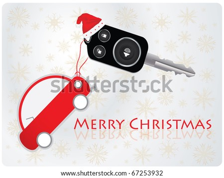 car key with remote - Christmas gift - stock vector