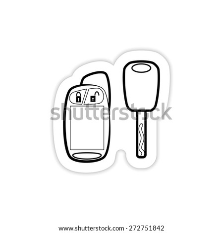 Car key with remote icon on a white background with shadow  - stock vector