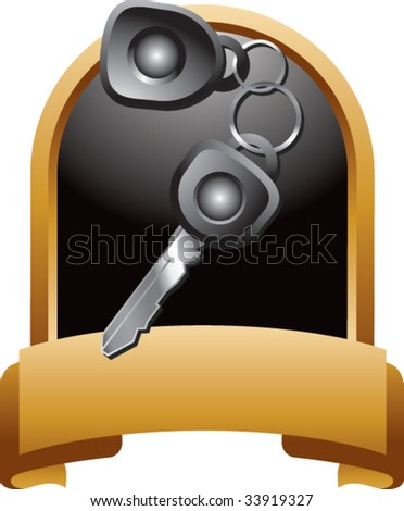 car keys on crest shaped display - stock vector