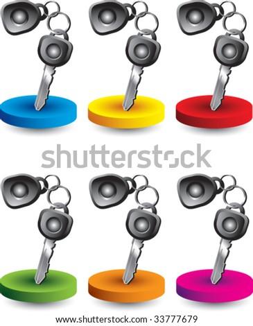car keys on glossy web button - stock vector
