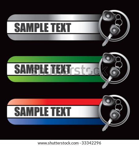 car keys on specialized banners - stock vector