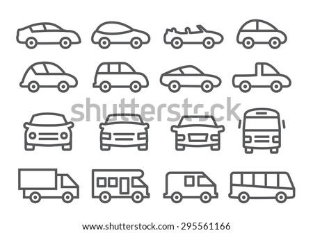 Car line icons - stock vector