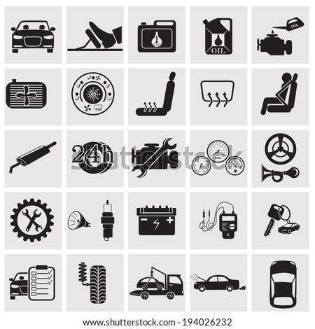 Car maintenance and repair icon set - stock vector