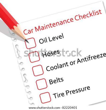 Car maintenance checklist on paper - stock vector