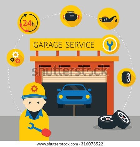 Car, Mechanic and Garage Service Icons and Illustration, Flat Design, Automobile Maintenance - stock vector