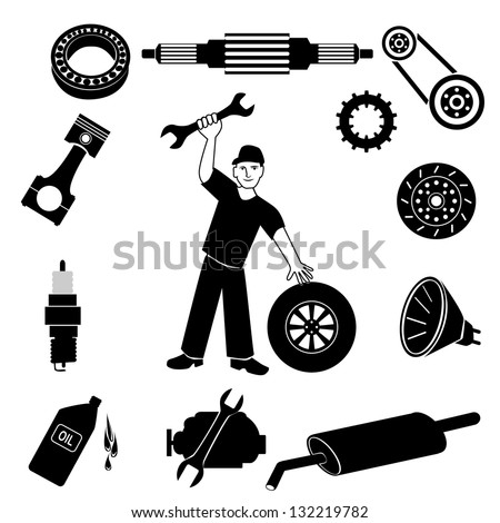Car mechanic and service icons. - stock vector
