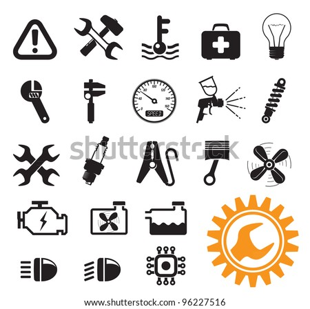 Car mechanic and service tools, icon set - stock vector