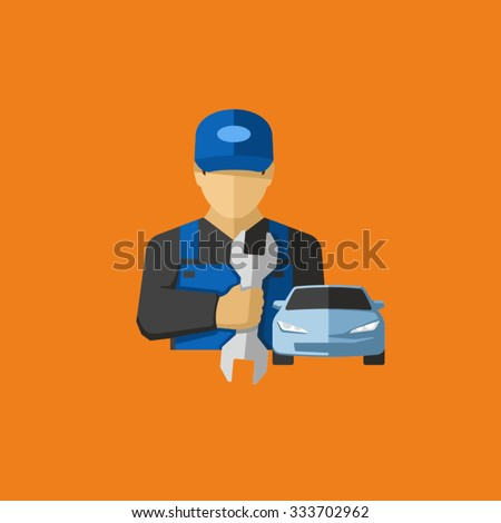 Car Mechanic Holding Wrench Vector Icon  - stock vector