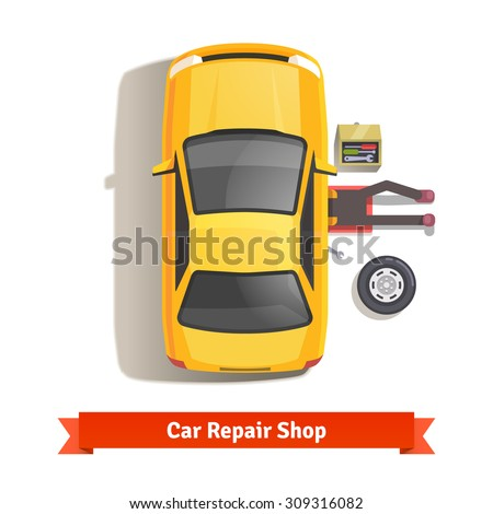 Car mechanic lying down under auto underbody doing repair work. Top view. Flat style vector illustration isolated on white background. - stock vector