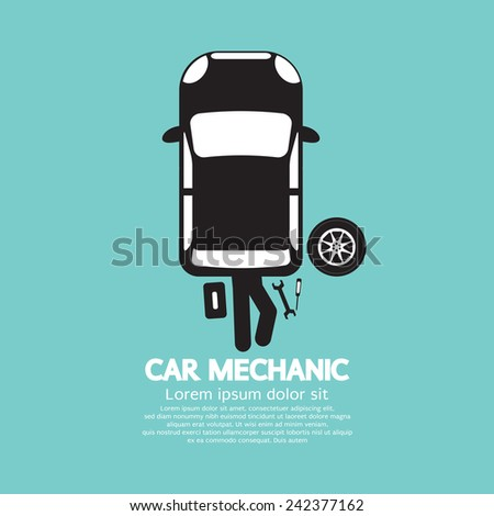 Car Mechanic Repairing Under Automobile Vector Illustration - stock vector