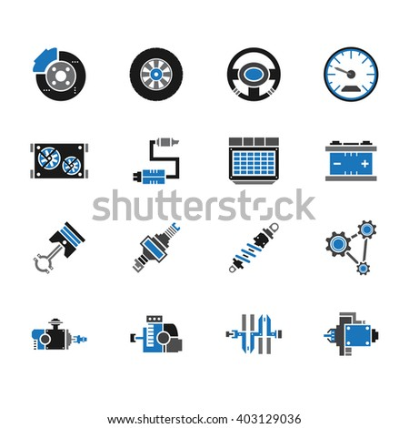 car mechanic tools element vector icon set on white background - stock vector
