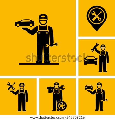 Car Mechanic Vector Icon Figure Pictogram  - stock vector