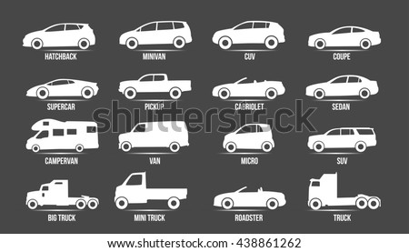 Car Model and Type. Objects icons automobile set. White vector illustration isolated on black background with shadow. Variants of automobile body, car silhouette for web, template. - stock vector