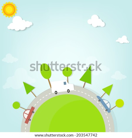 car moving along a country road - stock vector