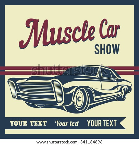 Car muscle retro show poster 70 s - stock vector