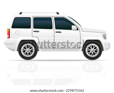 car off road SUV vector illustration isolated on white background - stock vector