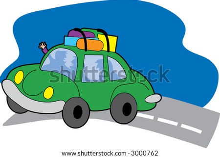 Car on a road with luggage on roof