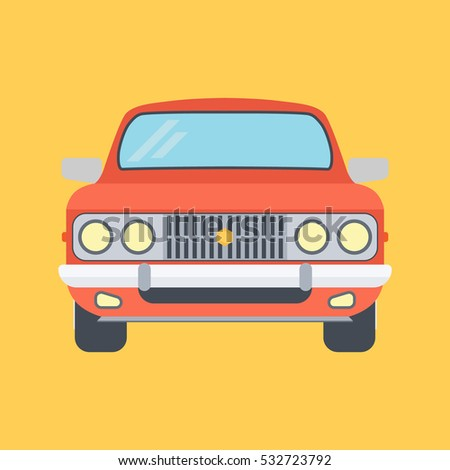 Car On A Yellow Background. Vector Illustration Of Flat Design