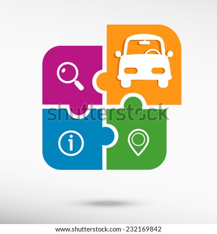 Car on colorful jigsaw puzzle  - stock vector