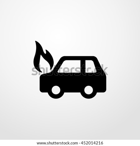 car on fire icon. car on fire sign