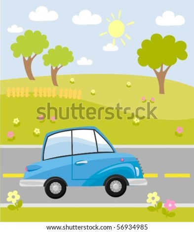 car on the road - stock vector