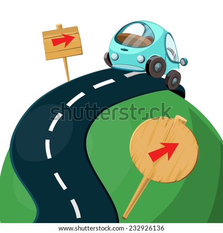 Car on the road and signs vector illustration. - stock vector