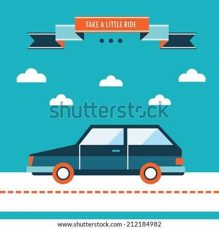 Car on the road. Stylish car, take a little ride. Flat design background template. Vector illustration - stock vector