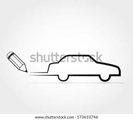 Car outline  - stock vector