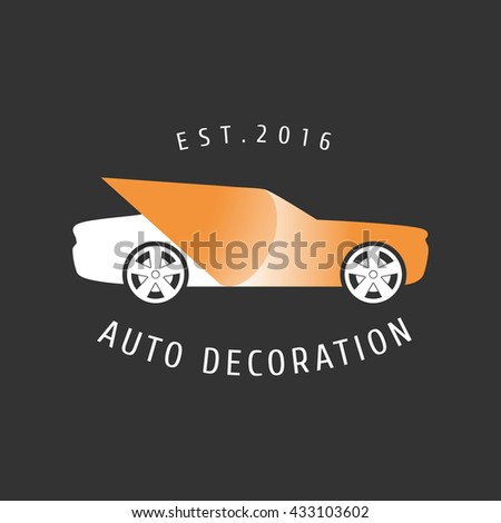 Car paint, auto decoration vector logo, icon, emblem, sign. Design elements for decoration of car airbrushing salon - stock vector