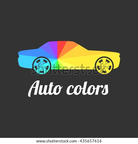Car paint vector logo, badge, icon, emblem. Graphic illustration of car painted with multi colors  - stock vector