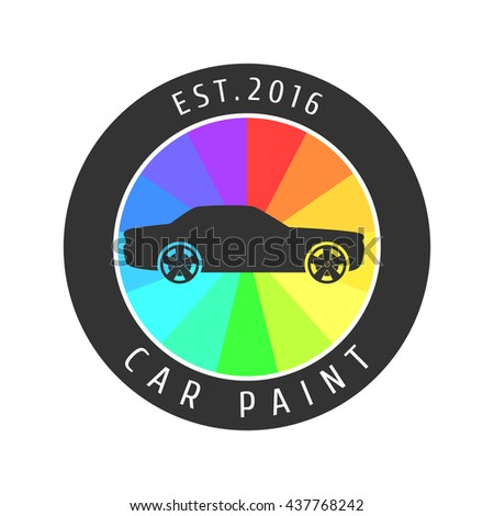 Car paint vector logo template, badge, icon, symbol, emblem. Design element related to car airbrushing, painting service - stock vector