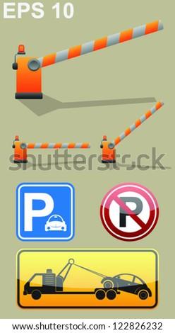 Car parking sign, barrier symbol, roadside assistance car towing truck icon. Vector set - stock vector