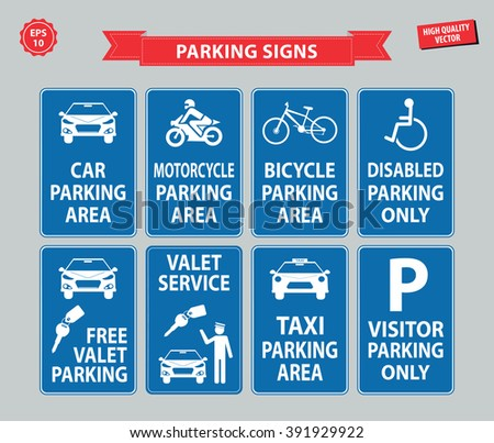 Car Parking Sign (car parking area, motorcycle, bicycle, disabled parking only, free valet parking, valet service, taxi parking, visitor parking only) - stock vector