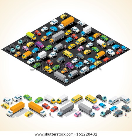 Car Parking. Various Automobiles, Trucks, Buses. Isometric Vector Illustration - stock vector