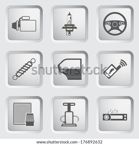 Car part and service icons set. Vector illustration. - stock vector
