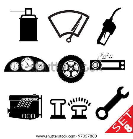 Car part icon set 8. Vector Illustration. - stock vector