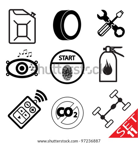 Car part icon set 11. Vector Illustration. - stock vector